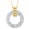 Open Circle Diamond Pendant in White and Yellow Gold