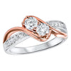 Twogether White and Rose Gold Diamond Ring