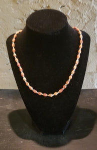 Apple Coral and Silver Bead Necklace