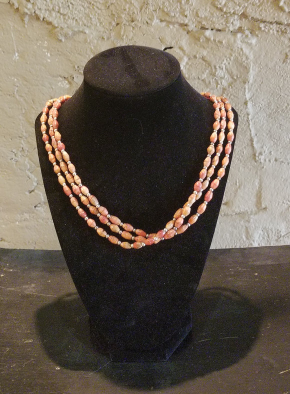 Triple Strand Apple Coral Necklace