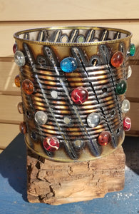 Tin Can with Glass Accents by Sue's Luminary