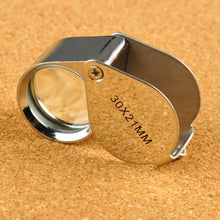 Load image into Gallery viewer, Jewelers Loupe 30X 21mm Magnifying Portable Jewelry Magnifier Foldable Magnifying Glass, for Gems, Coins, Antiques, Stamps, Reading, Inspection, etc, Metal Body Silver w/Box.