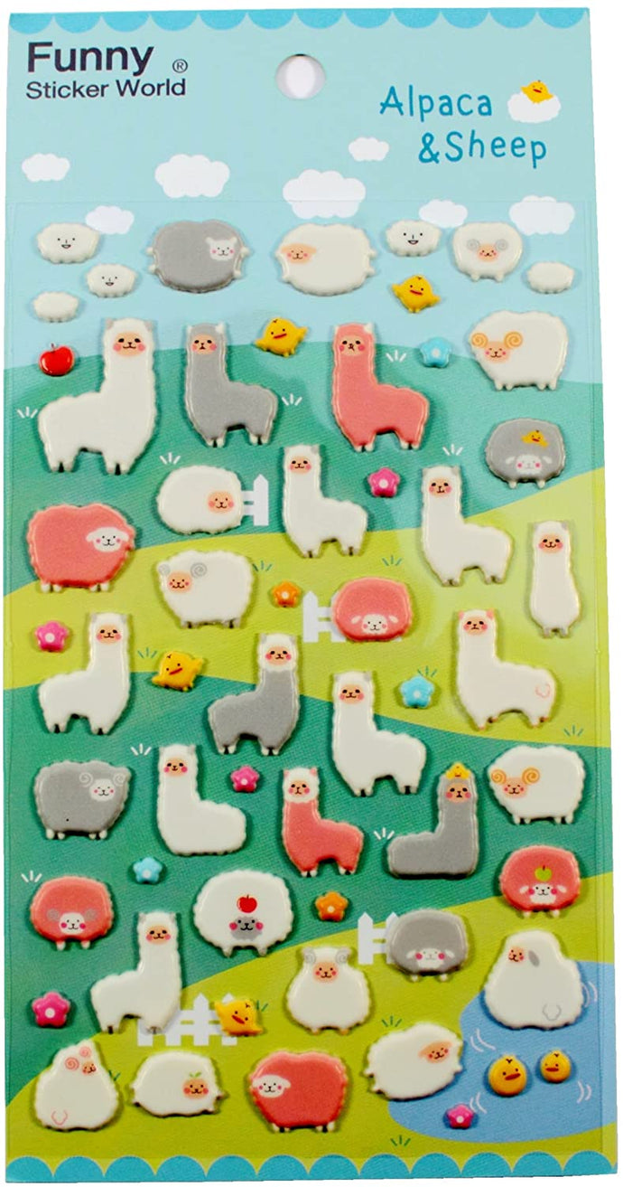 Funny Sticker World Alpaca and Sheep Stickers