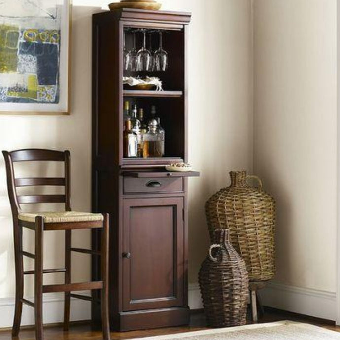 BAR CABINET W/ WINE RACK - CAPPACINO