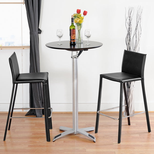 BAXTON STUDIO BLACK LEATHER BAR STOOL (SET OF 2)