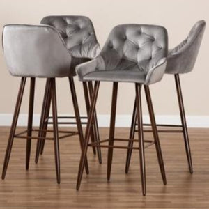 BAXTON STUDIO CATHERINE MODERN AND CONTEMPORARY GREY VELVET FABRIC UPHOLSTERED AND WALNUT FINISHED 4-PIECE BAR STOOL SET