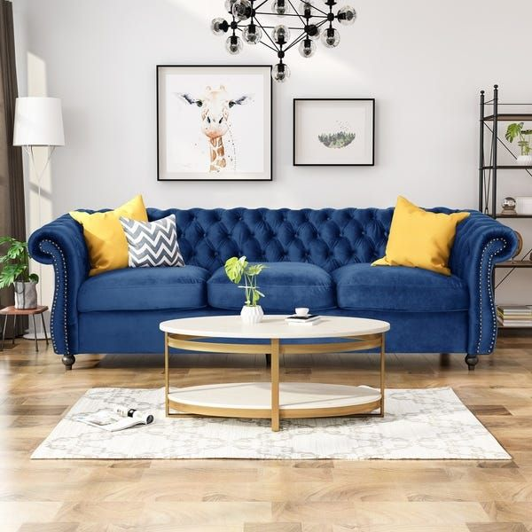 BAXTON STUDIO EMMA TRADITIONAL AND TRANSITIONAL NAVY BLUE VELVET FABRIC UPHOLSTERED AND BUTTON TUFTED CHESTERFIELD SOFA