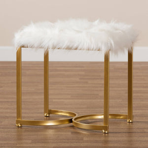 BAXTON STUDIO GWYN GLAM AND LUXE WHITE FAUX FUR UPHOLSTERED AND GOLD FINISHED METAL OTTOMAN