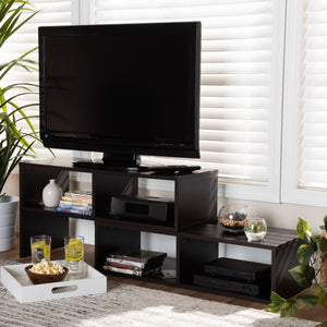 BAXTON STUDIO ANDOR MODERN AND CONTEMPORARY DARK BROWN FINISHED ADJUSTABLE 2-PIECE WOOD TV STAND