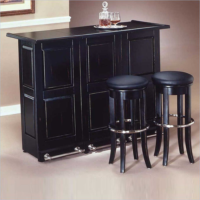 PORTABLE FOLDING BAR CABINET-BLACK