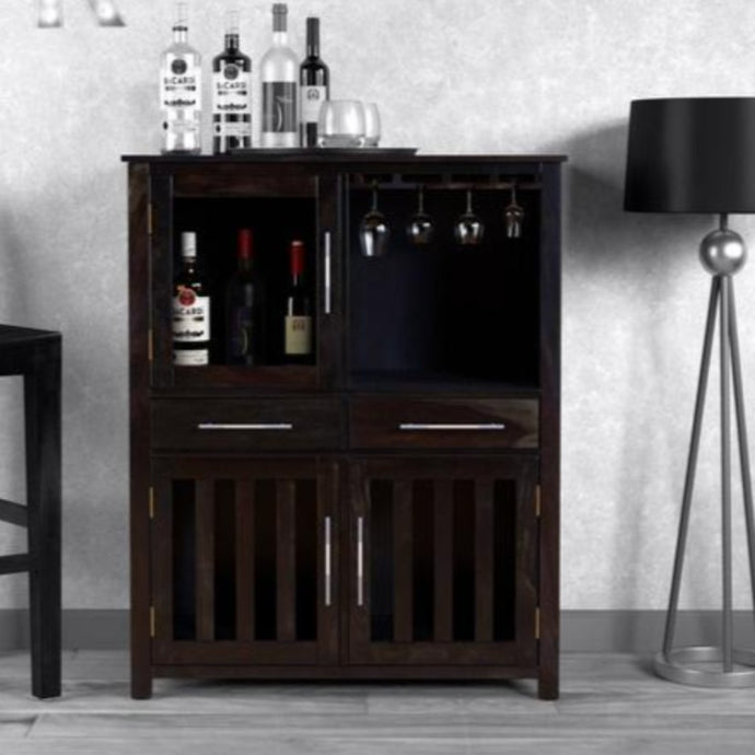 PORTABLE FOLDING BAR CABINET-CHESTNUT