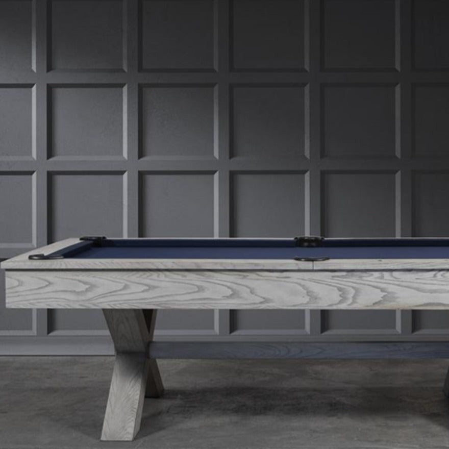 THE CROSSBONES 8' SLATE POOL TABLE IN WHITEWASH