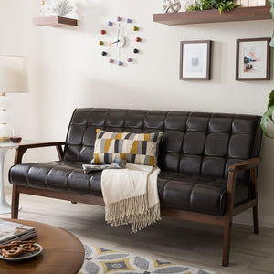BAXTON STUDIO MID-CENTURY MASTERPIECES LOVESEAT-BROWN Entertainment Room Furniture Lounge Life At Home