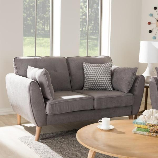 BAXTON STUDIO MIRANDA MID-CENTURY MODERN LIGHT GREY FABRIC UPHOLSTERED LOVESEAT Entertainment Room Furniture Lounge Life At Home