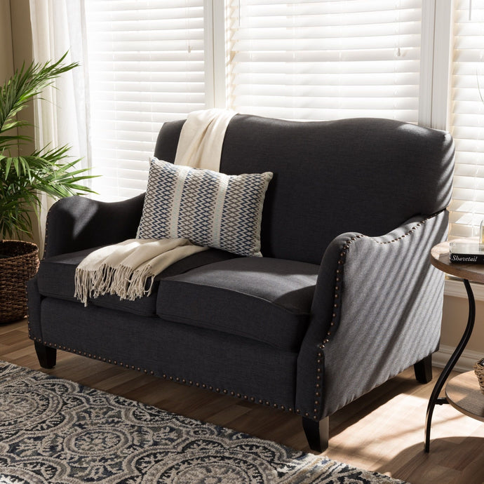 BAXTON STUDIO PENZANCE DARK GRAY LINEN LOVESEAT Entertainment Room Furniture Lounge Life At Home