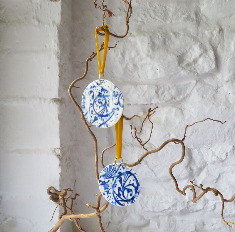 Blue and white, Christmas tree Decorations.
