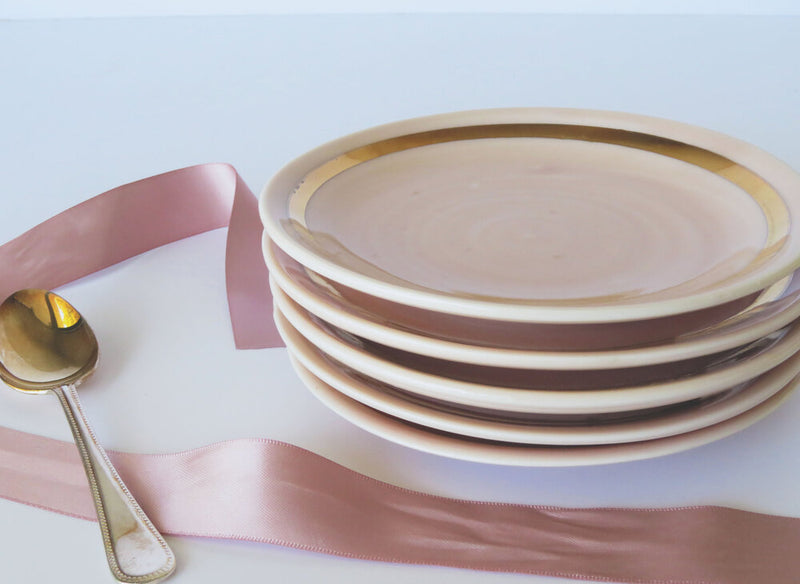 Cake plate. Pink and Gold