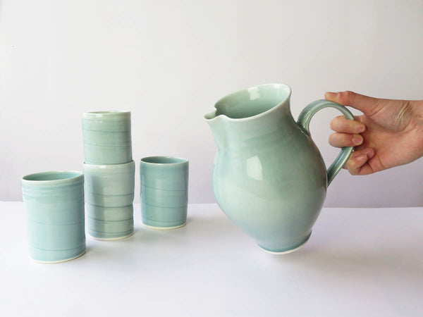 Large Jug and 4 Blue Tumblers set