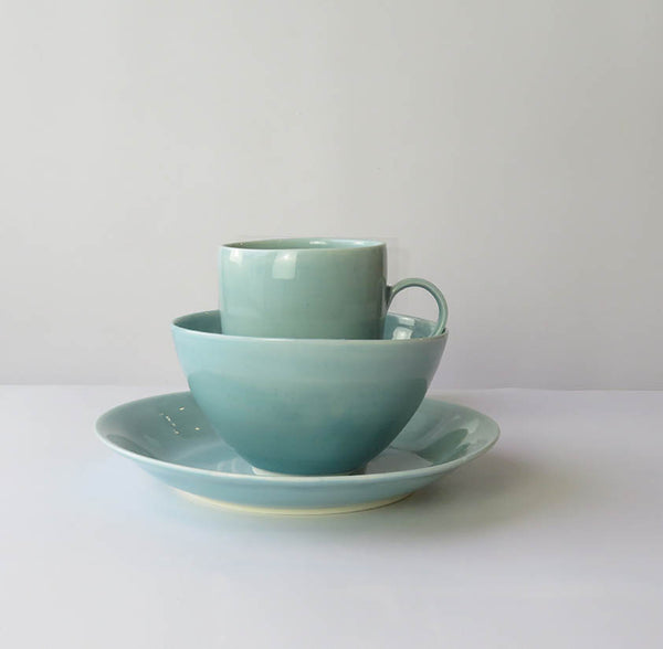 Set of Three, Mug, Bowl and Plate Celadon Blue