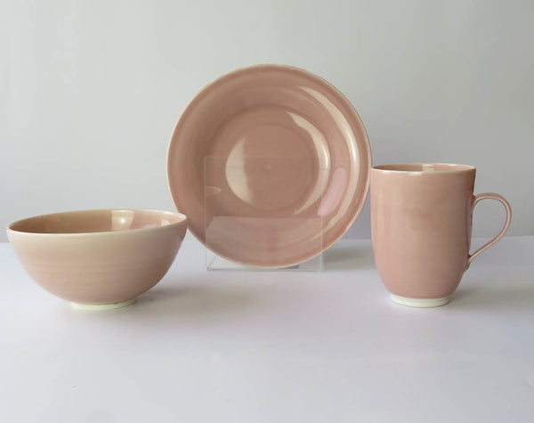 Set of three Mug, Bowl and Plate in Blush Pink
