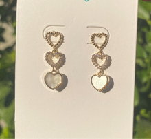 Load image into Gallery viewer, Three Heart Earrings