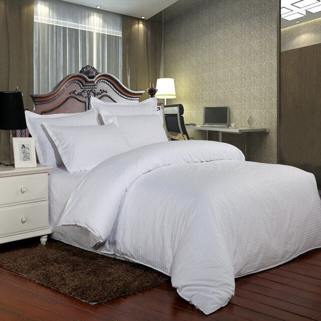 100% Cotton Hotel White Bedding Set Luxury Satin Strip Bed Line Duvet Cover Sheet Pillowcase Home Decoration