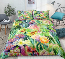Load image into Gallery viewer, Cactus Bedding set Green plant Duvet cover set Flower Bed line for teen kid Bohemial quilt cover girl bed set Twin home Textiles