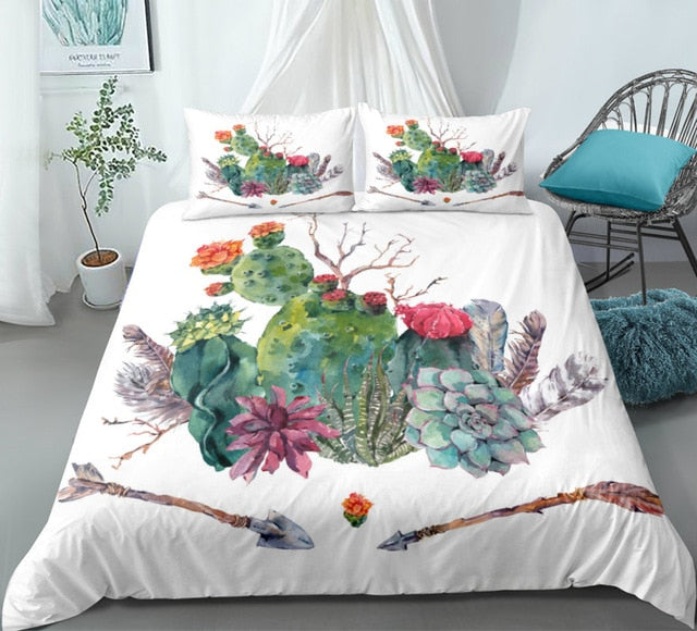 Cactus Bedding set Green plant Duvet cover set Flower Bed line for teen kid Bohemial quilt cover girl bed set Twin home Textiles