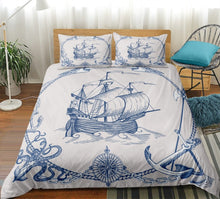Load image into Gallery viewer, Sailboat Bedding Set Anchor Duvet Cover Set Vintage Style Bedspreads Compass Quilt Cover Set Queen Nautical Decor Map Bed Line