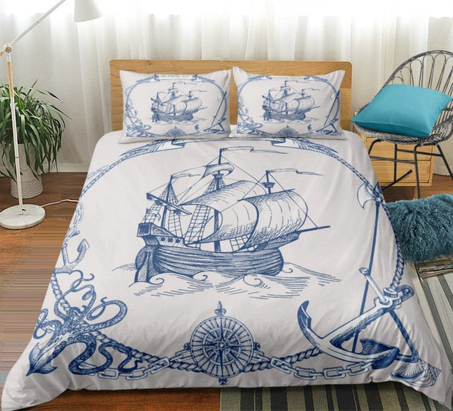 Sailboat Bedding Set Anchor Duvet Cover Set Vintage Style Bedspreads Compass Quilt Cover Set Queen Nautical Decor Map Bed Line