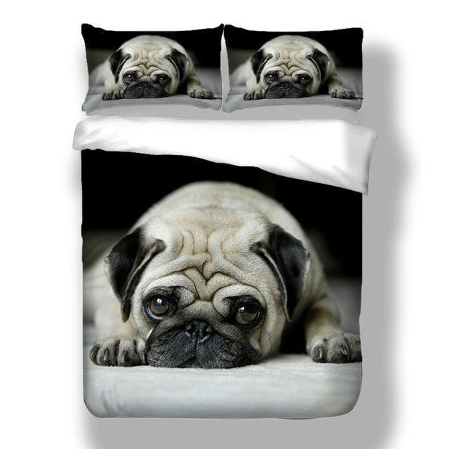 3D Cute Dog Duvet Cover Set Bedding Set Pug King Queen Bed Set King Comforter Bedding Set UO05#