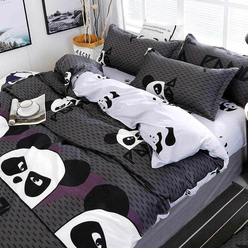Chinese Style Cartoon Panda Pattern Bedding Set Bed Linings Duvet Cover Bed Sheet Pillowcases Cover Set 4pcs/set 51