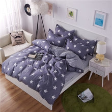 Load image into Gallery viewer, Classic bedding set 5 size grey blue flower bed linens 4pcs/set duvet cover set Pastoral bed sheet AB side duvet cover 50