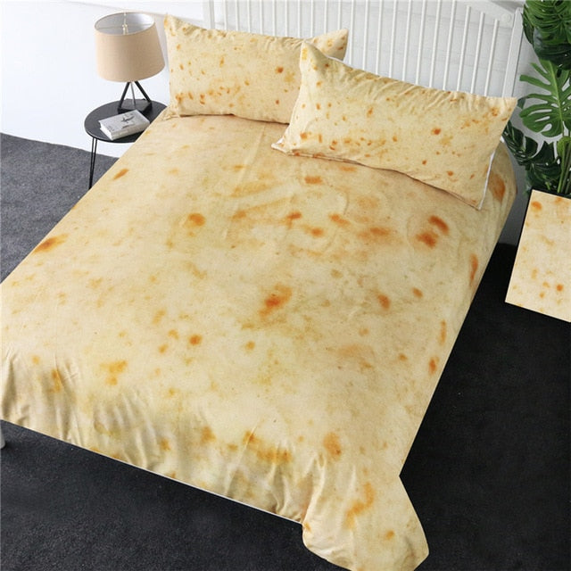 BeddingOutlet Burrito Bedding Set Plain Corn Tortilla Texture Bed Cover Food 3D Pita Lavash Comforter Cover Set Queen Bedspreads
