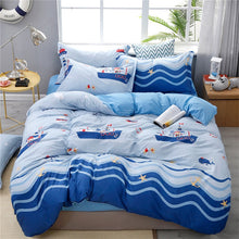 Load image into Gallery viewer, cartoon sailboat bedding set kids Bedding lines  blue duvet cover set bed cover+pillowcase children bedroom bedspread twin size