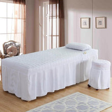 Load image into Gallery viewer, 4pcs Beauty Salon bed set massage bedding set Brief checked bed sheet Bed Skirt Bedspread Bed Cover with Hole