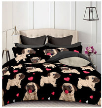 Load image into Gallery viewer, Black Pug Printed Bedding Sets Heart Dog Duvet Cover Set 2/3pcs Bed Set Double Queen Quilt Cover Bed linen (No Sheet No Filling)
