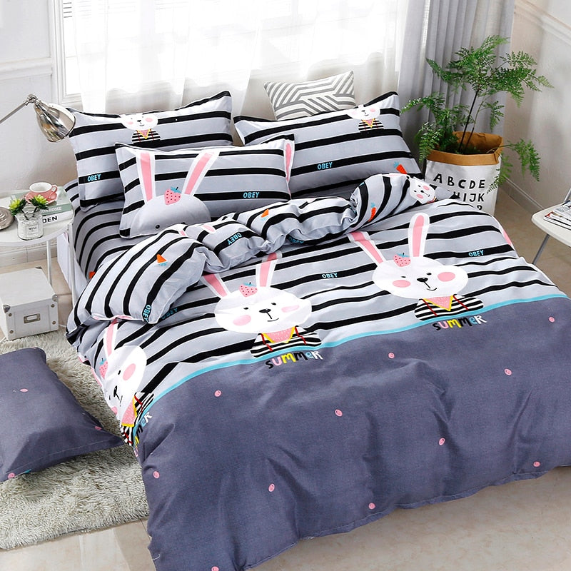 High Quality Kawaii Strawberry Rabbit Pattern Bedding Set Bed Linings Duvet Cover Bed Sheet Pillowcases Cover Set 4pcs/set 51