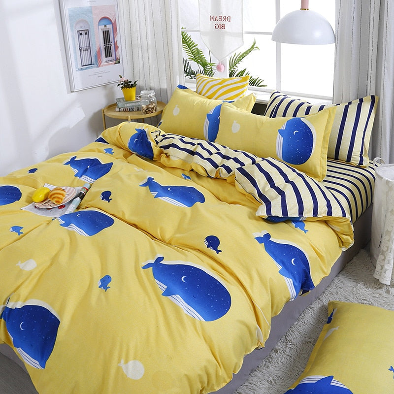 4pcs/set Yellow Cartoon Style Comfortable Blue Whale Printing Family Bedding Set Bed Linings Duvet Cover Bed Sheet Pillowcases49