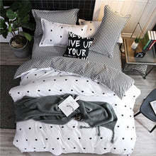 Load image into Gallery viewer, Black heart home bedding set 3/4pcs bed linen set heart printed Duvet cover set classic bed cover sheet pillowcase camel bed set