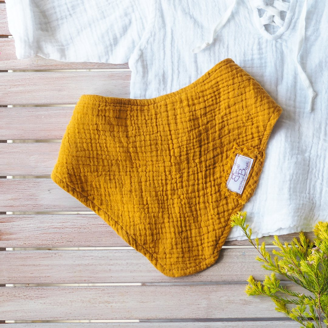 ORGANIC COTTON DRIBBLE BIBS - MUSTARD