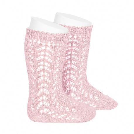 FULL OPENWORK KNEE HIGH SOCK - PINK