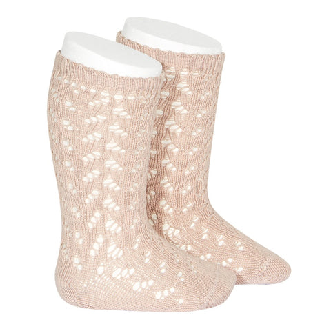 FULL OPENWORK KNEE HIGH SOCK - OLD ROSE