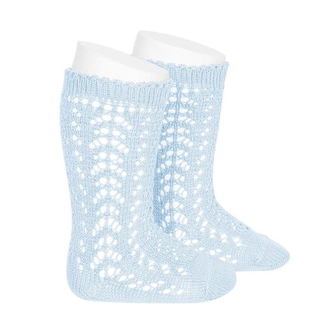 FULL OPENWORK KNEE HIGH SOCK - BABY BLUE