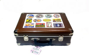 LARGE BROWN TRAVEL SUITCASE WITH HOTEL STICKERS