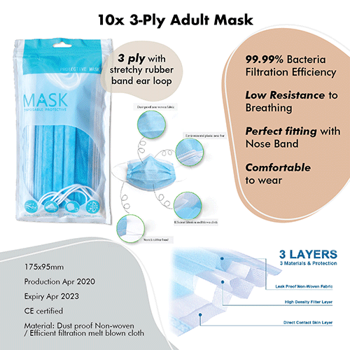 3-Ply Adult Mask (10pcs) CARE Bundle