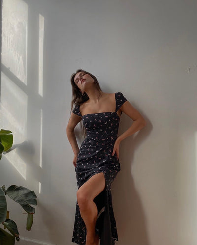 De La Muze, Black Floral Midi Dress, Image 1