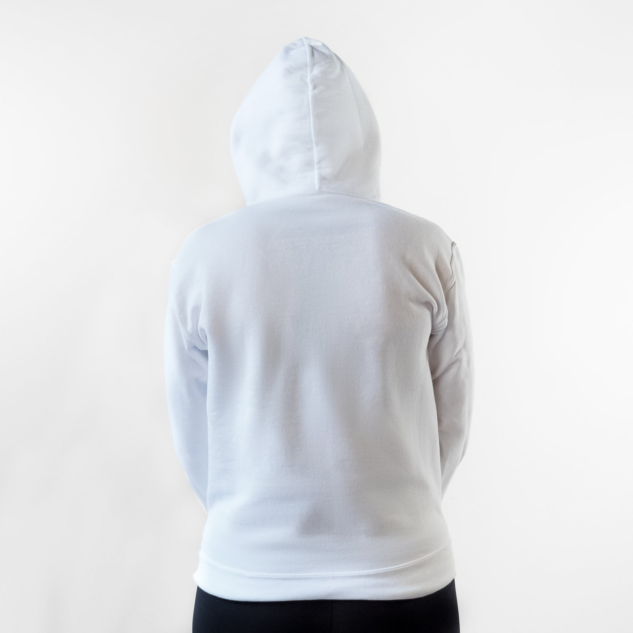Back of FlexIt Rest Day hoodie with hood up.