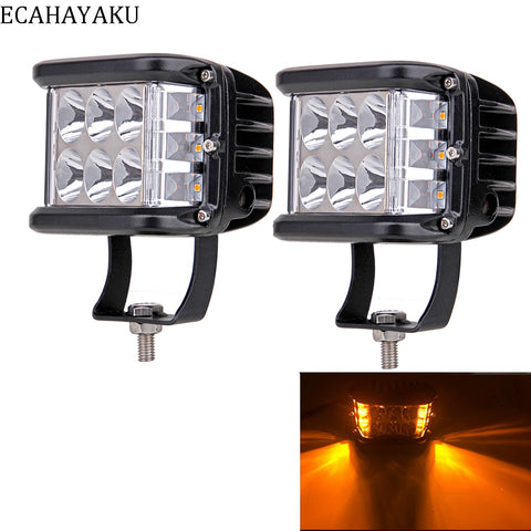 2Pcs ECAHAYAKU For 4x4 Car Led Bar 4Inch 60W Led Pods Driving Fog Off-road LED Work Light Side Shooter Styling Rescue Truck SUV