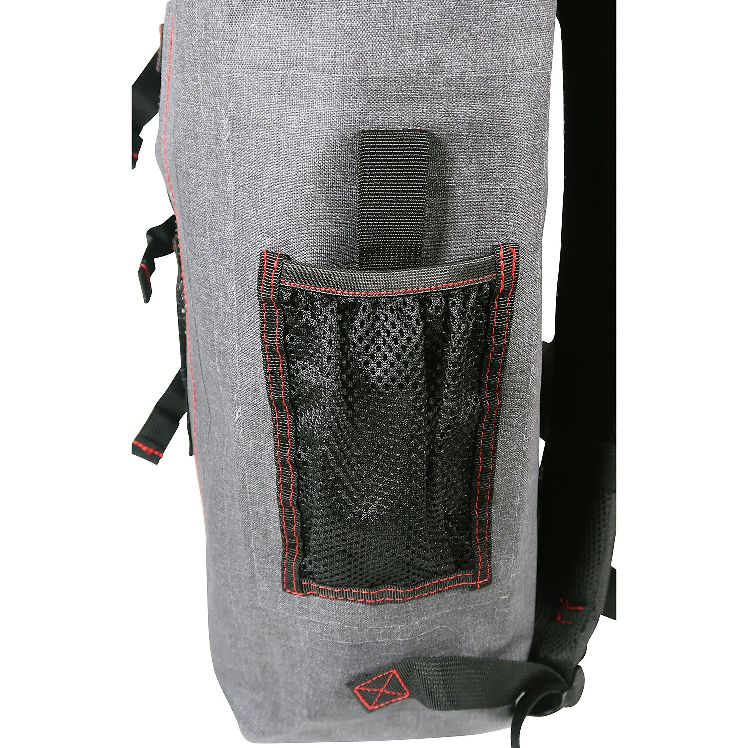 side pocket of the 30L Dry-Bag with Front Net Pouch